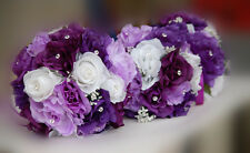 25pc Bridal Bouquet,Boutonniere,Corsage Package.Rhinestone pin.Purple/Ivory