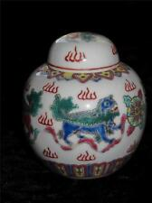 ORIENTAL PORCELAIN MINIATURE GINGER JAR with Hand Painted Dragon Pattern China