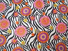 Glittery Floral Medallions on Black & White Zebra Flannel Fabric
