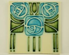 Porteous Handmade Art Nouveau Arts & Crafts Tile - Green & Blue