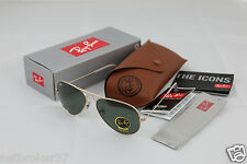 RAY BAN RB 3025 Aviator Metal 58mm Gold Frame Sunglasses New Dark Lens With Case