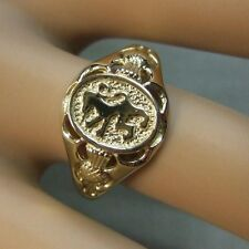 9 ct GOLD  new gents scottish rampant lion ring