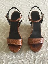 GORGEOUS PRADA BROWN ALLIGATOR WEDGE SANDALS SIZE 38!!!