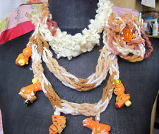 Necklace Fiber Art And Beads Handmade Statement Crocheted No Metal No Stone