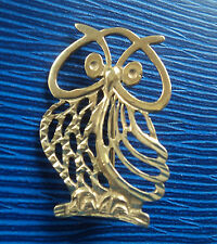 SUPER 9ct Yellow Gold Owl Brooch /  Pin  c.1970/80s