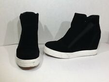 Steve Madden Lazaruss Wedge Fashion Sneakers Women's Size 8 Black Suede ZG-588