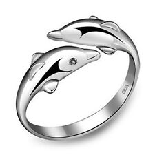 925 Silver Filled dolphins Rings Women's Fashion 2016 Xmas Jewelry Size O