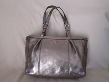 Genuine Coach Gallery pleated leather East West tote bag in silver metallic