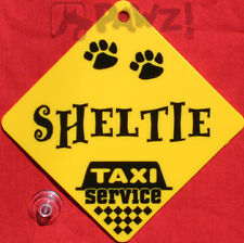 SHELTIE Dog Taxi Service Car Window Yellow SIGN
