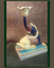 """50's Style Ceramic Dolphin Fish Candle Holder ~ 9.5"""" Tall ~ Florida Chic ~ Zrike"""