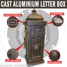 NEW Aluminium Stand Letterbox Tower Vintage Mailbox Post Mail Box
