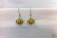 """Hawthorn Hawks"" style Crystal & Silver Footy Earrings by Zedelle"