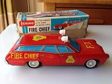 VINTAGE TINPLATE ICHIKO JAPAN FRICTION DRIVE FIRE CHIEF CAR