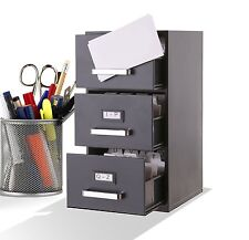 "3-Drawer Mini Filing Cabinet by Q-Gifts (QG18) [Black][3.5"" x 2"" Business Cards]"
