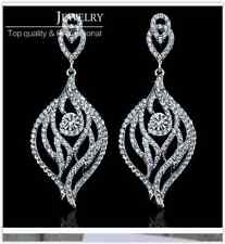 Sparkling Silver Leaf Austrian Diamante Crystal Long Drop Earrings Gift/Wedding