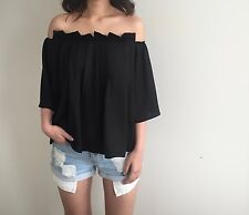NEW Off Shoulder Forever Cameo Pleated Top BLACK AU6 US2 XS