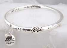 Mobious Style Bangle Bracelet Mom Daughter Sentiment Silver Fashion Jewelry NEW