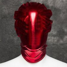 Red Hot PVC Wet Full Cover Head Hood, Bondage Fetish Restraints Adult Night Toy
