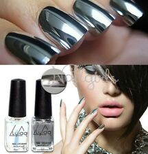2pcs/Set  Silver Mirror Effect Nail Art Polish Varnish & Base Coat