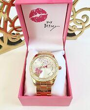 Betsey Johnson Champagne Bubble Bottle Popping Gold Chunky Rhinestone Watch NWT