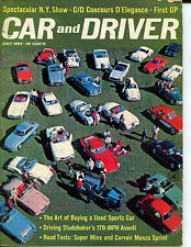 Car & Driver July 1962 Spectular N. Y. Show,  C/D Concours D'Elegance, First GP