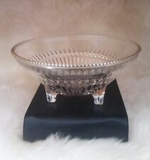 GLASS CONDIMENT FOOTED CANDY DISH CUT GLASS BEADED RIM