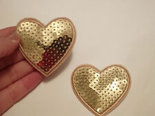 gold love heart patches sequin applique patch motif iron on sew on UK
