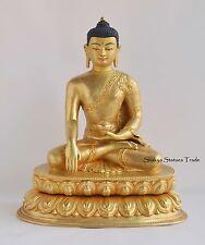 """11.5"""" Shakyamuni Tomba Buddha Gold Gilded Face Painted Copper Statue Patan Nepal"""