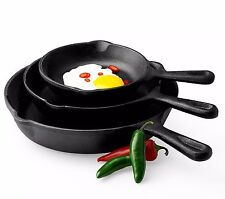 Pre-seasoned 3 Pc Cast Iron Fry Pan Set Skillets Cook Stove Top Oven Kitchen US