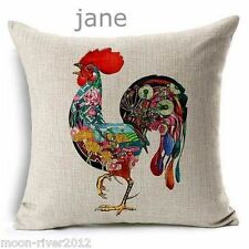 ROOSTER Hen Cock Colour New LINEN-COTTON Mix Canvas CUSHION Cover, UK Sale