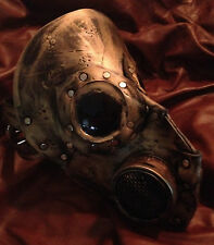 Leather Gold warrior Steampunk gas mask - Halloween comicon robot plague doctor