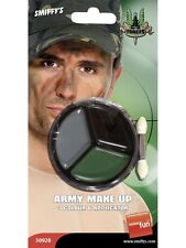 Fancy Dress Make Up Army Face Paint Camo Camouflage & Applicator New Smiffys