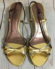 Franco Sarto BABY Wedge Heel Sandals Metallic Trio Rose Gold Silver Size 8 1/2 M