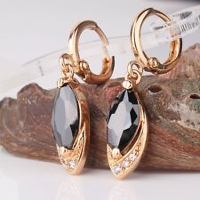 Engagement Marquise 18k gold filled Vintage style black sapphire dangle earring