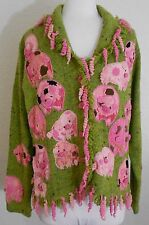 Design Options XL Green Pink Pig Sweater Cardigan Fringe Philip & Jane Pigs