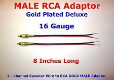 """2 Channel Speaker Wire MALE RCA GOLD PL Adapter Amp Powered Receiver 16 GA 8"""""""