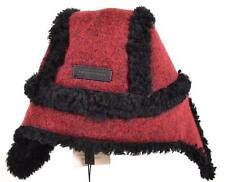 NEW BURBERRY CHILDREN'S RED SHEARLING FUR & WOOL AVIATOR EAR MUFF WINTER HAT S