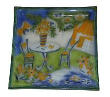 "Outside Cafe Table Chairs Flowers Cat le temps de vivre 13"" Glass Platter NEW"