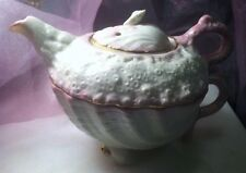 BELLEEK Ireland Rare PINK NEPTUNE SEASHELL TEA FOR ONE Teapot and Cup Set