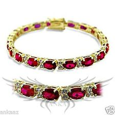 Ladies Brilliant Ruby Red Top Grade Garnet Gold Plated Tennis Bracelet 415505