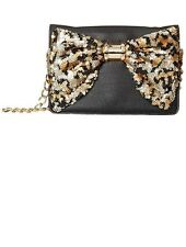 """NWT BETSEY JOHNSON WALLET ON A STRING """"Oh Bow"""" Black With Gold Sequin Bow"""