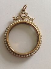 Attractive Fine Murrle Bennett 9ct Gold & Seed Pearl Set Circular Glazed Locket