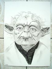 A4 Charcoal Sketch Drawing Star Wars Yoda Jedi Master