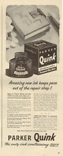1944 vintage AD, PARKER QUINK Fountain Pen Ink SolvpX  Office Supply   (110614)