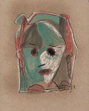 ABSTRACT FACE IN THE STYLE OF PICASSO Pastel Drawing 2013 INDISTINCT SIGNATURE