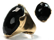 Women Fashion Black Color Faceted Acrylic Oval Stone Stretch Gold Color Ring