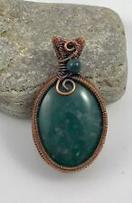 New Handcrafted Antique Copper Wire Wrapped Green Cabochon  Pendant