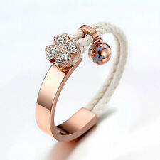 LEATHER WRAP HALF GOLDEN BAR GP CLOVER FLOWER BALL WHITE FOLLI PETRA BRACELET