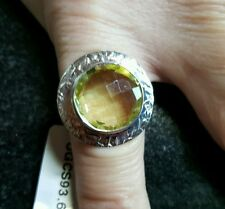 Lemon Quartz & Sterling Silver Aryonna Ring Hallmarked 10.00cts Size N-O  2.2cm