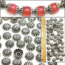 Sterling Silver PL 10mm Bali Style Fancy Handmade Fluted Flower Bead Caps 60pc